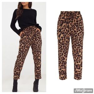 Brown Leopard Print Casual Pants